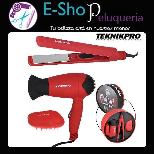 8e964cd17 Beauty Set Teknikpro: Secador Plegable + Plancha de Pelo + Cepillo  Desenredante